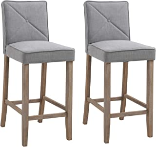 HOMCOM 2-Piece Bar Height Barstools Chair with Convenient Build-in Footrest, Solid Wood Legs, & Stylish Modern Decor, Grey