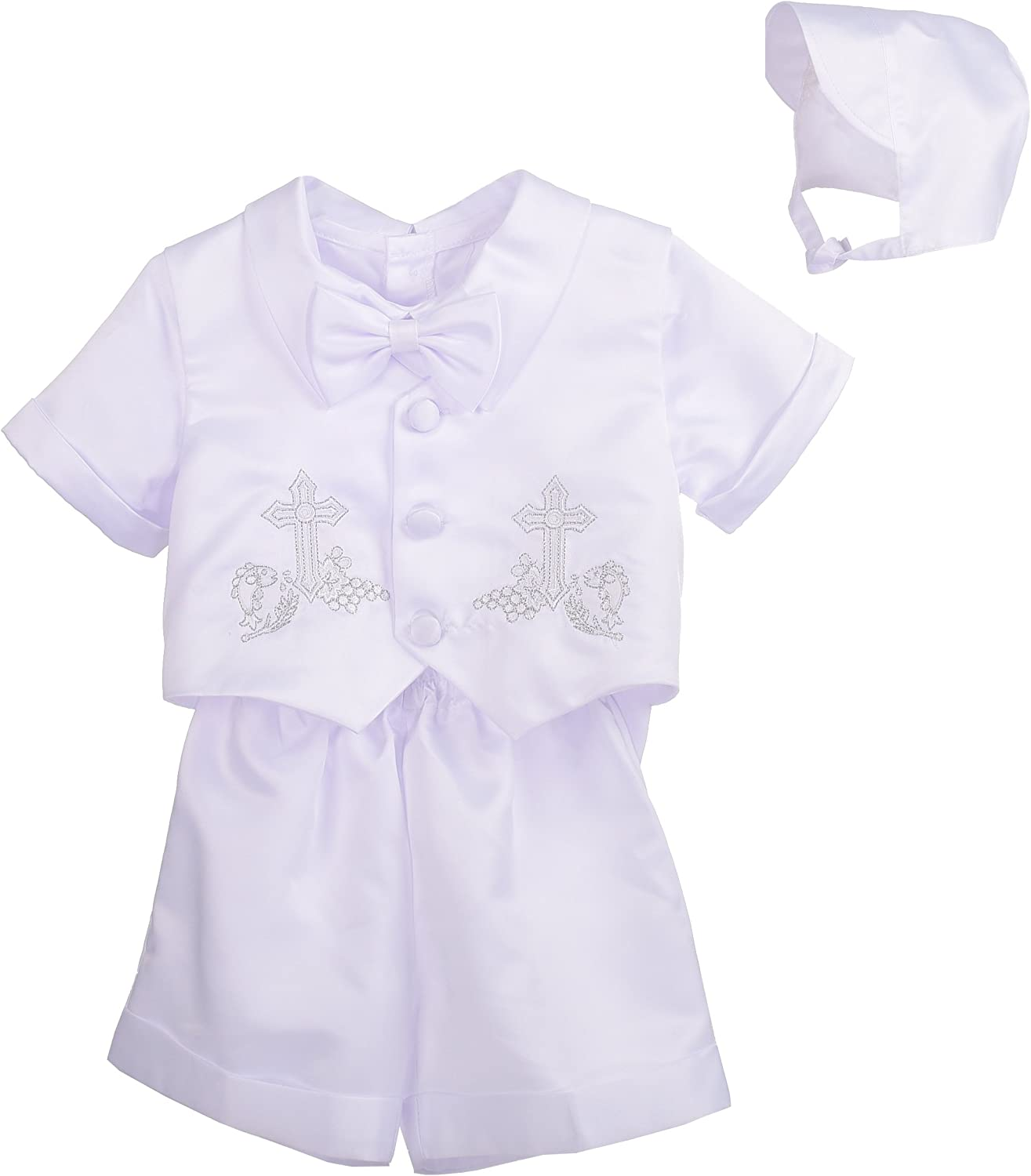 Lito Angels Baby Boys 4Pcs Short Sleeves & Pants Baptism Christening with Bonnet