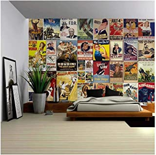 wall26 - Peel and Stick Wallpapaer - American Posters Collage with Vintage War Propaganda and Classic Movie Posters | Removable Large Wall Mural 66