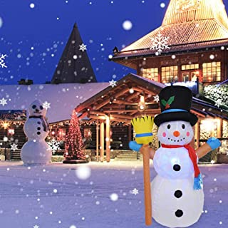 GreceYou 1.2M Christmas Snowman Inflatable Outdoor Decorations, Rotating Inflatable Lamp Christmas Snowman Model with Hat for Courtyard Garden Indoor and Outdoor Decor Led Breath Light
