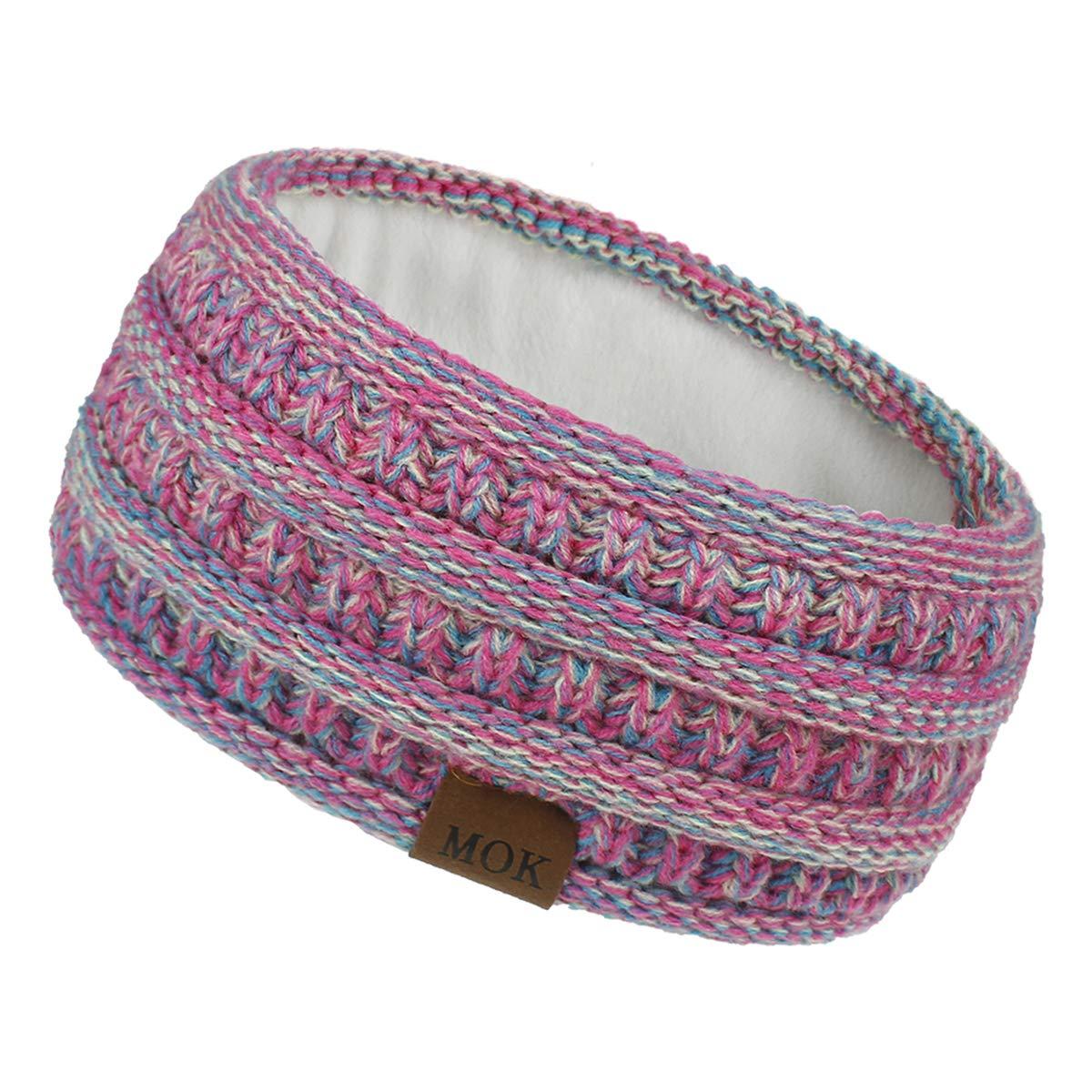 Camidy Knit Ear Warmer Headband for Women, Winter Warm Fleece Lined Headband Head Wrap