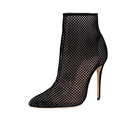 2b86934b5c5 FSJ Women Fashion High Heel Ankle Boots with Rivets Pointed Toe Stilettos  Zipper Shoes Size 4