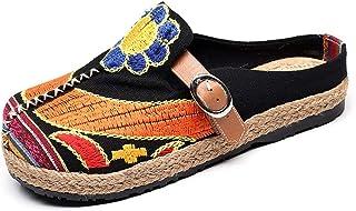 Minetom Espadrilles Femme Sandales À Fleurs À Talons Plates Été Pantoufle Plage Mode Old Beijing Brodées Chaussures Mocassins