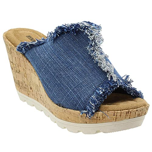 3861b5de7f01 Denim Wedge Sandals  Amazon.com