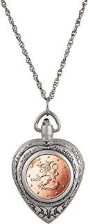Heart Watch Pendant Coin Necklace Locket with Genuine Finland 2 Euro Coin | 30-inch Rope Chain