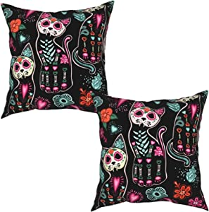 Fiephvsa Day of The Dead Cat Kitten Sugar Skull Decorative Square Throw Pillow Covers Set 16