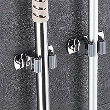 DrDirt Trapeador y escoba Soporte para postes Sujetador de clip Organizador montado en la pared Soporte deslizante de aluminio con 3 pinzas de goma antideslizantes y 4 ganchos para la pared de la puerta al aire libre