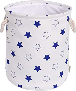 Rismart Panier de rangement en toile pliable avec poignées en corde pour la lessive, les jouets, les vêtements, les servie...
