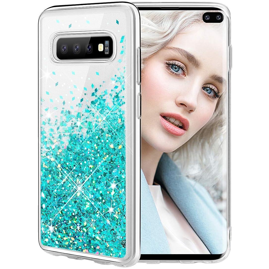 Maxdara Case for Samsung Galaxy S10 Plus Glitter Case Floating Liquid Soft TPU Bling Luxury Sparkle Pretty Fashion Cute Case for Girls Women S10+ (Teal)
