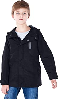 SOLOCOTE Boys Waterproof Hooded Jackets Lined Performance and Fashion Design, Tough and Light Fabric 3-14Y