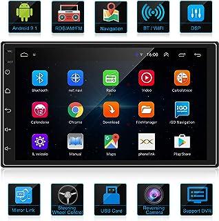 ANKEWAY 2021 Nuevo 2 DIN Android 9,1 DSP+RDS+FM Radio del Coche Navegación GPS 7 Pulgadas 1080P HD Pantalla Táctil +WiFi I...
