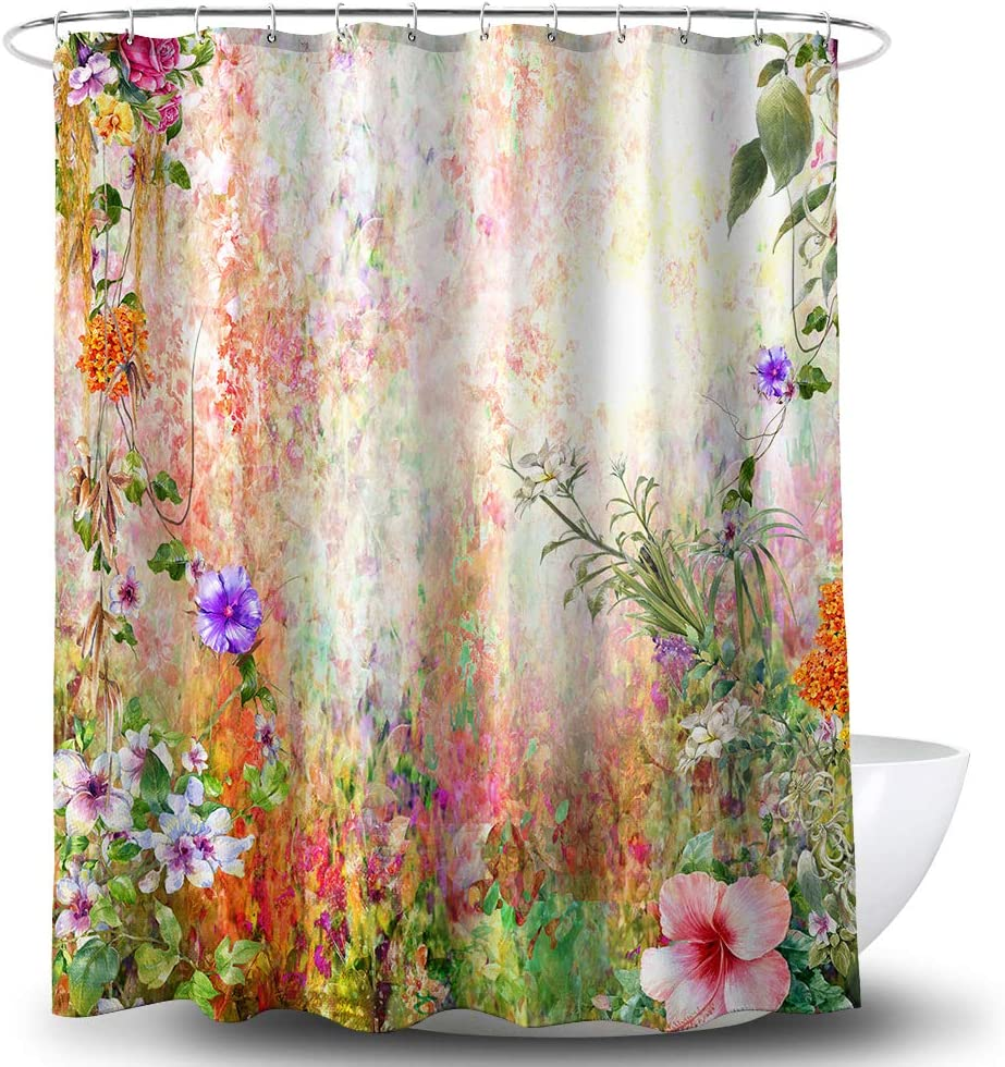 Ranking integrated 1st place BECAN Flower Shower Curtain Watercolor Meadow Rare Flowers F Abstract