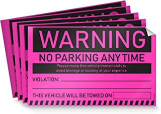 Towing Stickers for Cars (Fluorescent Pink) - 50 Warning No Parking Stickers/Hard to Remove and Super Sticky Parking Violations 8