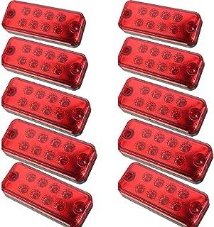 Seitenleuchten, HEHEMM Seitenmarkierungsleuchte 8 LED Schlussleuchte Clearance Rücklicht Positionsleuchte Wiederherstellungslampen Markierungsleuchten für Anhänger LKW 24V 10 PCS (Rot)
