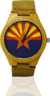 Handmade Wooden Watch Made with Natural Bamboo with US State Flag Picture