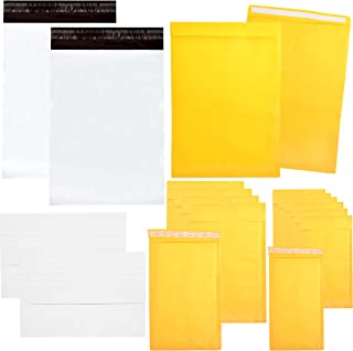 Youngever 125 Pack Assorted Envelope and Mailer Set, Self Seal Envelopes, 9x11.5 Catalog Mailers, 4x8 Bubble Mailers, 6x10 Bubble Mailers, 10x13 Poly Mailers