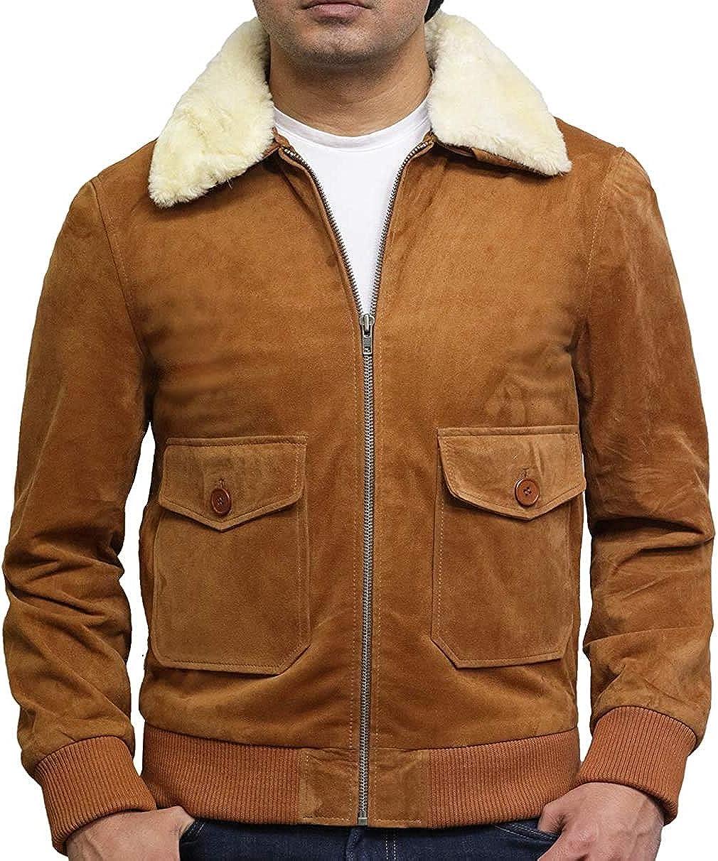 BRANDSLOCK Nashville-Davidson Mall Men Genuine Suede Leather Detachabl Jacket Time sale Biker with