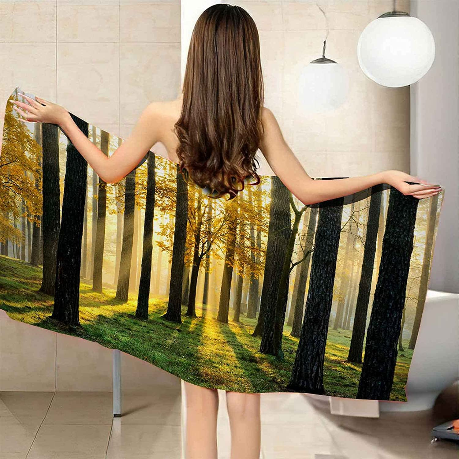 IRUAIF Microfiber Beach Towel Limited price sale Early Morning Landscape 78. Forest OFFicial shop