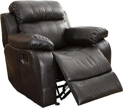 Homelegance Rocker Reclining Chair, Black Bonded Leather