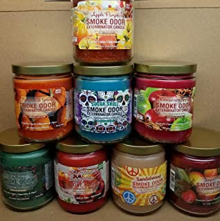 Smoke Odor Exterminator 13 oz Jar Candles Apple Pumpkin Assortment (8) Includes Pumpkin Spice, Evergreen & Berries, Sippin' Sangria, Sugar Skull, Cinnamon Apple, Sandalwood & Sugar Plum.