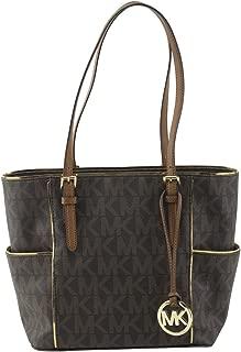 Womens Specchio Leather Signature Tote Handbag Brown Large