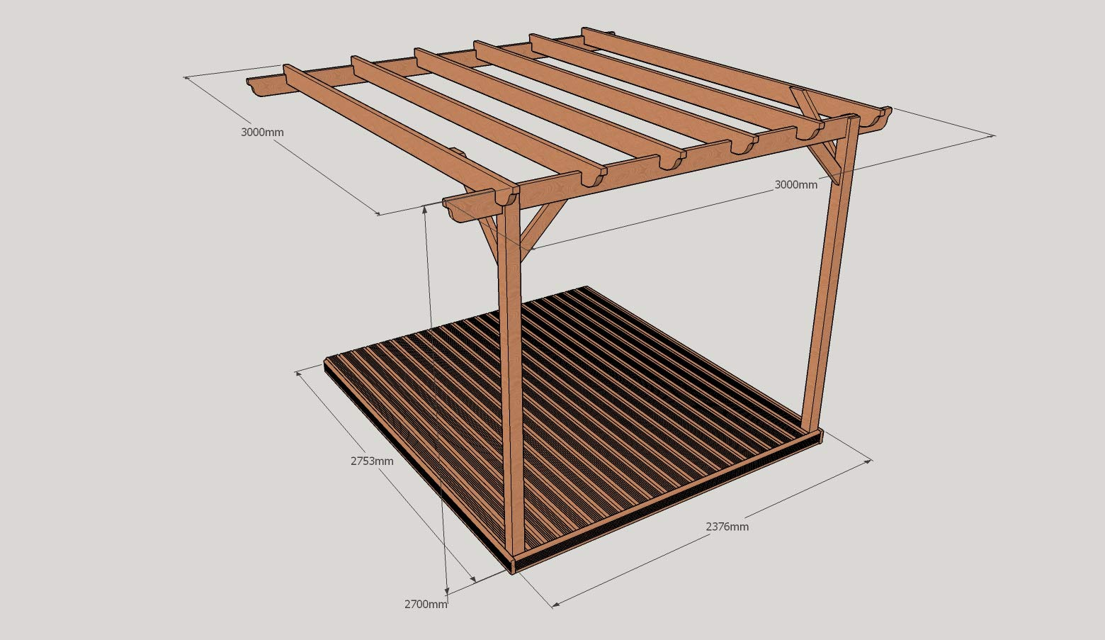 Rutland County Garden Furniture Montado en la Pared Kit de Pergola ...