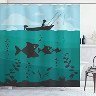 GoEoo Single Boat Ride with Bobbins Nautical Marine Nature Rustic Image Print Fabric Bathroom Pattern Easy to Clean Shower Curtain for Bathroom Hotel Curtain Blue Green