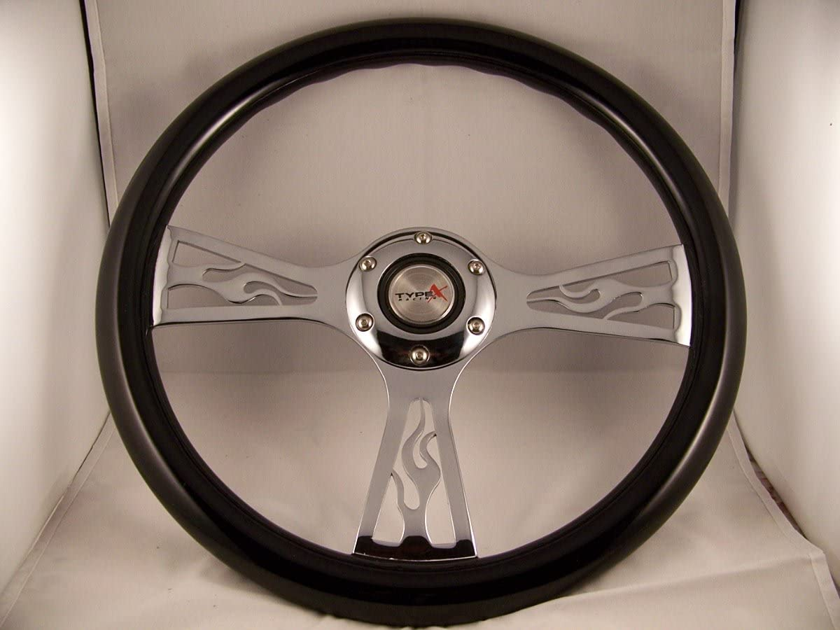 Max 90% OFF Be super welcome Joe's Auto Parts 088 Black Chevro Flame Steering for Wheel