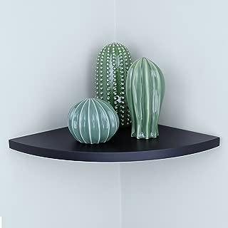 "Ballucci Floating Radial Corner Shelf, 12"" x 12"" Inch, Black"