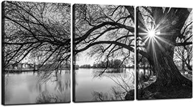 sechars - Canvas Prints Wall Art Black and White Tree in Sunrise Canvas Wall Art Lake Landscape Picture Giclee Print on Canvas Framed and Ready to Hang Modern Home Ofiice Wall Decor - 48