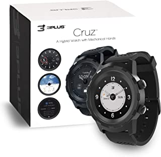 3Plus Cruz Hybrid Smart Watch with Heart Rate Monitor, Pedometer, Physical Hands, Touch Screen for Android/iOS in Black