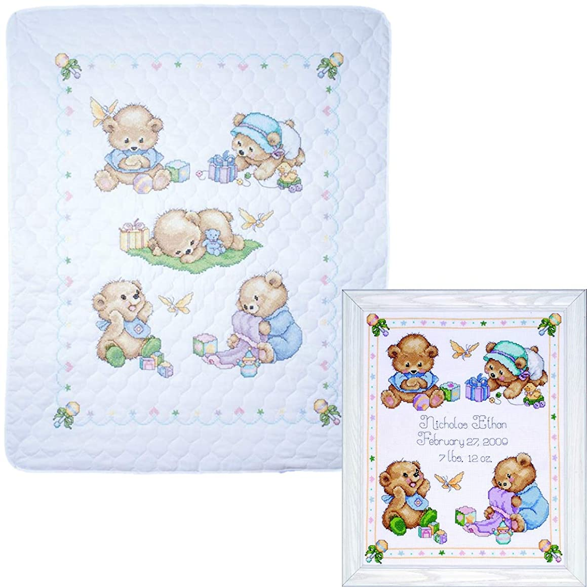 Tobin - Baby Bears Nursery Decor Cross Stitch - 2 Kits: Baby Bears Baby Quilt T21705 and Baby Bears Sampler T21711 with 2 Gift Cards