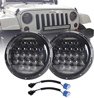 COWONE 7 Inch Round 5D 2019 Newest Design 130w LED Projector Headlight with DRL for Jeep Wrangler JK TJ LJ CJ for Harley Motorcycles