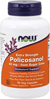 NOW Supplements, Policosanol 40mg with Pine Plant Sterols and Hawthorn, Extra Strength, 90 Veg Capsules