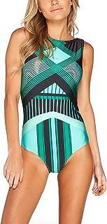 gllive Womens Vintage Floral Print High Neck Padded Push up One Piece Swimsuit Backless Bikini Monokini Leotard Bathing Suit