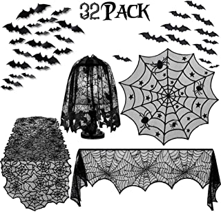 Trentixel 32 Pcs Halloween Decorations Set, Halloween Tablecloth Spooky Bat Spiderweb Lace Rectangular Tablecloth, Round Lace Table Cover, Halloween Lamp Shades and Fireplace Scarf Cover
