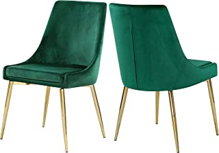Meridian Furniture Karina Collection Green Modern   Contemporary Velvet Upholstered Dining Chair with Polished Gold Metal Legs, Set of 2, 19.5