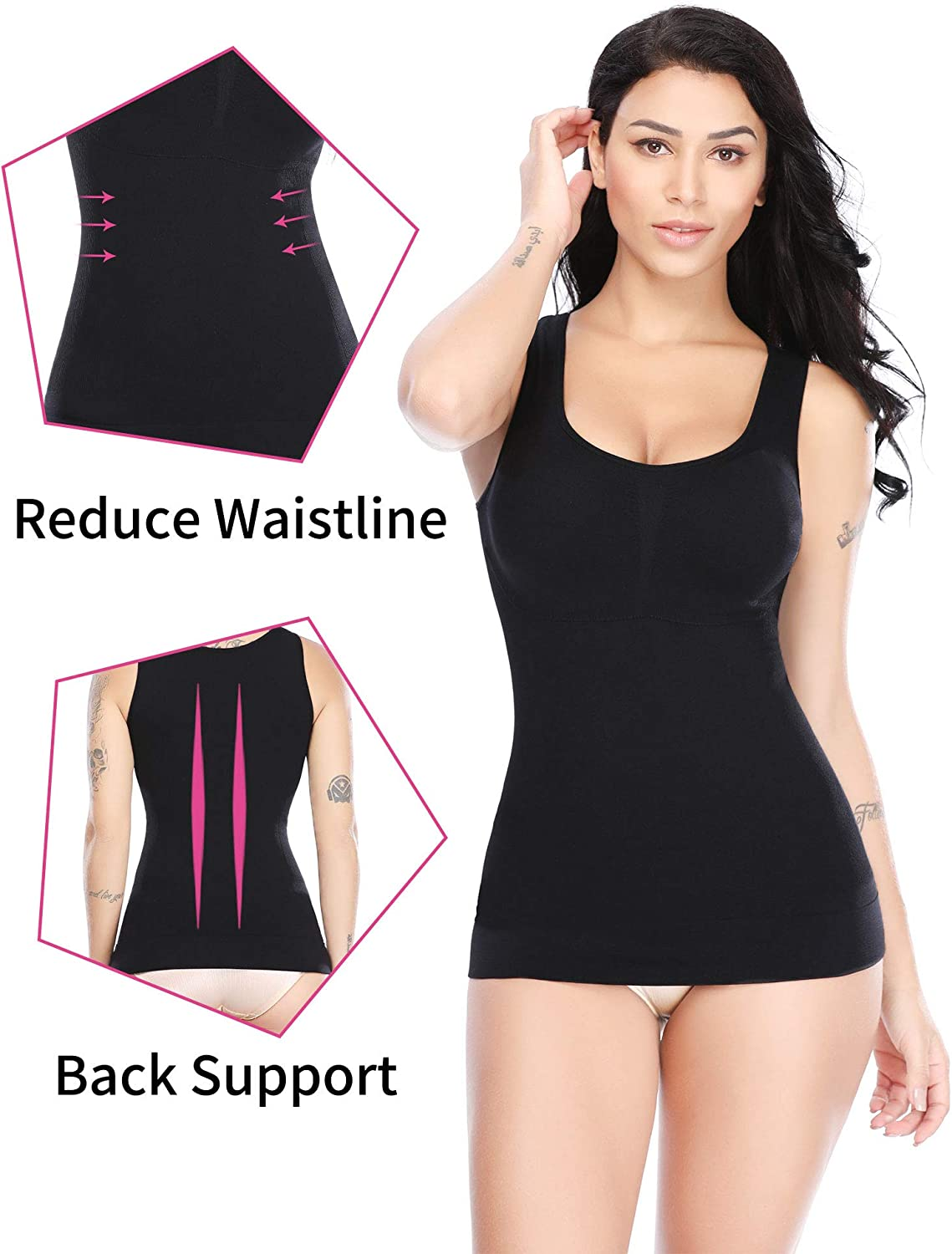 SLIMBELLE Shapewear Tank Tops for Women with Built in Bra Compression Camisole Tummy Control Vest Cami for Winter