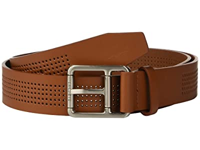 Lacoste Perforated Leather Belt w/ Roller Buckle (White/Patisson/Woodpecker) Men