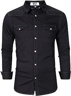 Men's Button Down Shirts Long Sleeve Denim Work Shirt Slim Fit Dress Shirts for Men