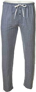 Novila Men's Web Trousers - Lounge Trousers, Homewear, Cotton Flannel, Herringbone Pattern Blue M (Medium)