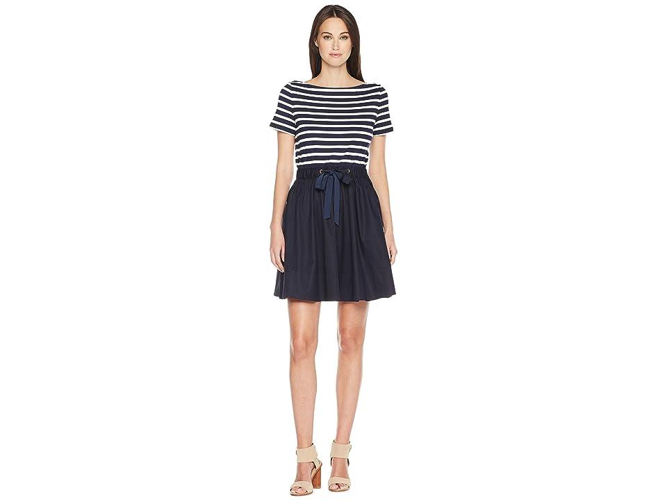 Kate Spade New York Stripe Knit Mixed Media Dress (Rich Navy/Off-White) Women