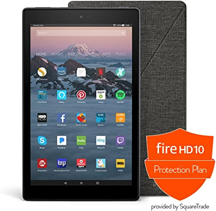 Fire HD 10 Protection Bundle with Fire HD 10 Tablet (32 GB, Black), Amazon Cover (Charcoal Black) and Protection Plan (2-Year)