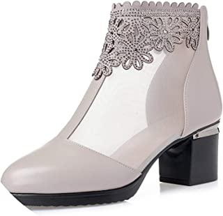 Surprise S Fashion Sandals Mesh Leather Shoes Woman High Heel Sandals New Breathable Cool Boots Summer