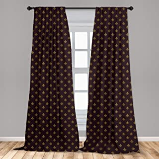 Ambesonne Fleur De Lis Window Curtains, French Pattern European Culture Theme Abstract..