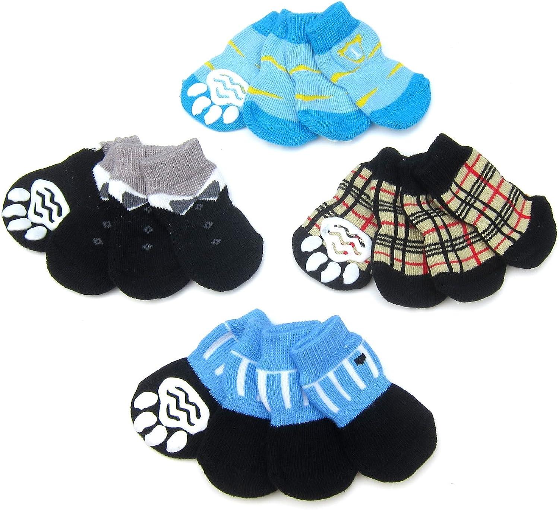 Alfie Pet  Sawyer 4 Set of 4 Dog Paw Predection Indoor Socks  Size  Large