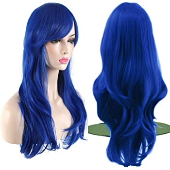 """AKStore Fashion Wigs 28"""" 70cm Long Wavy Curly Hair Heat Resistant Wig Cosplay Wig For Women With Free Wig Cap (Blue)"""