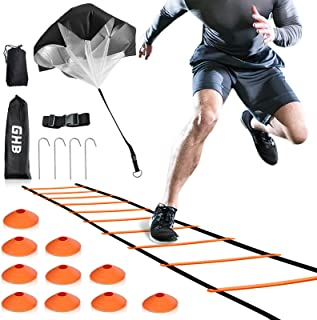 GHB Pro Agility Ladder Agility Training Ladder Speed 12 Rung 20ft with 10 Cones and Resistance Parachute