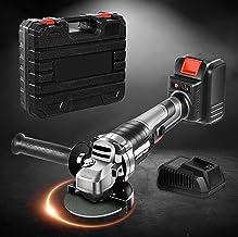 TTLIFE Amoladora angular 9000RPM 21V Amoladora angular inalámbrica con cargador rápido/Mango auxiliar de 2 posiciones/Hoja de sierra de 13 piezas para cortar y esmerilar