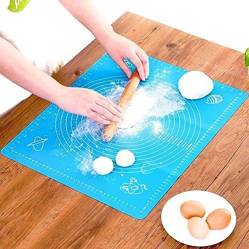 Lukzer 1 Pc Reusable Non-Stick Kneading Dough Mat Bakery Measuring Mat Easy to Clean Silicone Mat 50 x 40 cm (Random ...